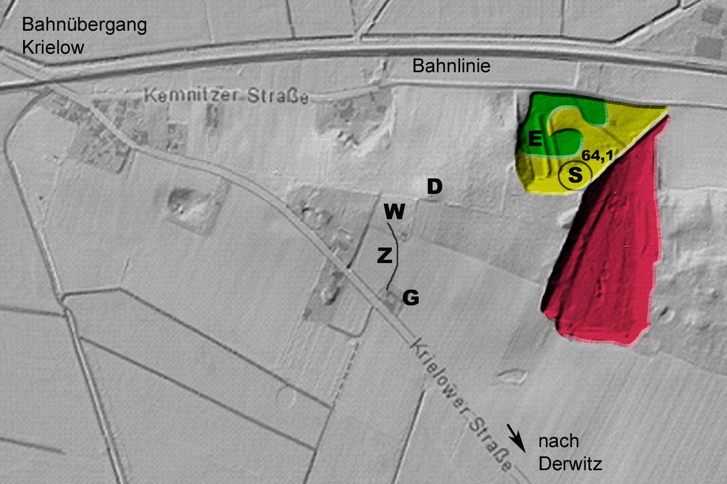 Aus historischen Messtischblättern wurden hier die drei Grubenbereiche, die seit 1846 und den folgenden ca. 80 Jahren entstanden, farbig in den aktuellen Oberflächen-Scan eingetragen. Der grüne Grubenbereich war 1891 einzig allein vorhanden - das Lilienthal'sche Übungsgelände. Der gelbe Grubenbereich entstand erst 1904 bis 1906 für die Bahn in Potsdam Charlottenhof. Der rote Grubenbereich zum Autobahnbau – per Lorenbahn in den 1930-er Jahren abgefahren.