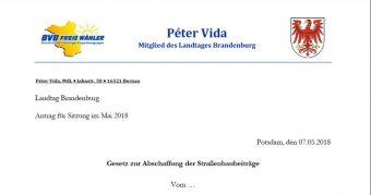 Peter Vida, Gesetzentwurf zur Abschaffung der Straßenbaubeiträge