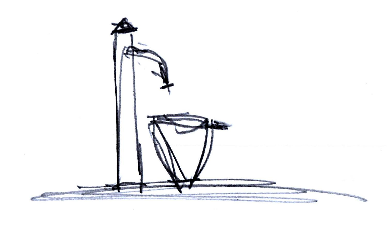 Brunnen, Fichtenwalde, erster Entwurf