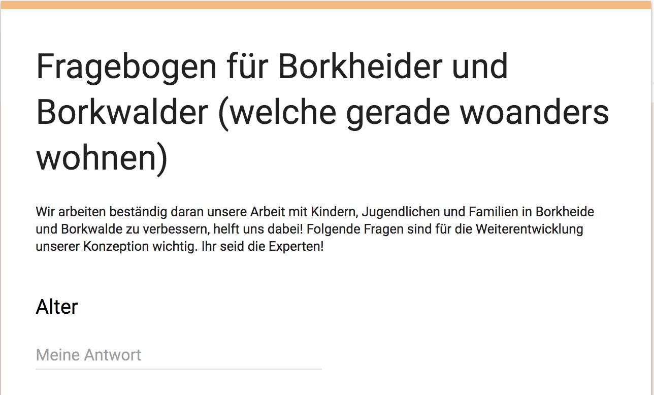 Fragebogen, Job e.V., Borkwalde, Borkheide, Amt Brück