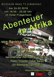 """Abenteuer in Afrika - Bericht vom der Ralley Dresden-Dakar-Banjul @ Hotel """"Fliegerheim"""""""