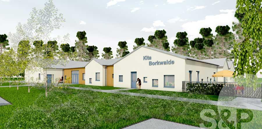 Borkwalde, Neubau, Kita, Gemeindesaal
