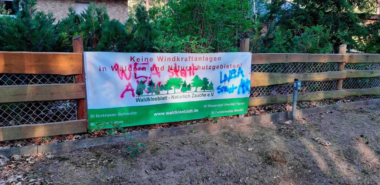 Vandalismus, Waldkleeblatt, Windkraft, Fichtenwalde
