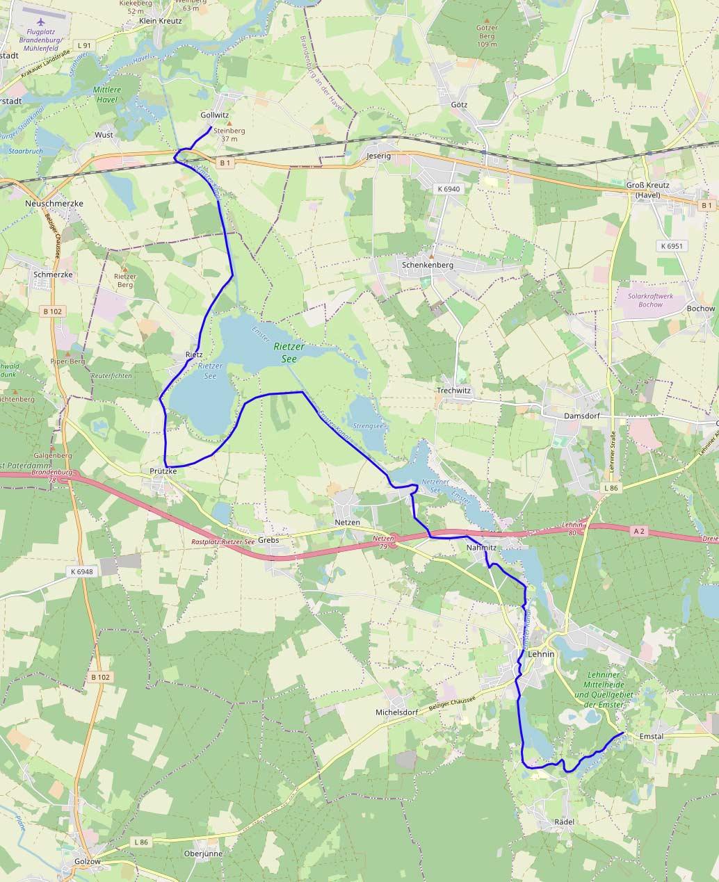 Zaucheradweg-Karte