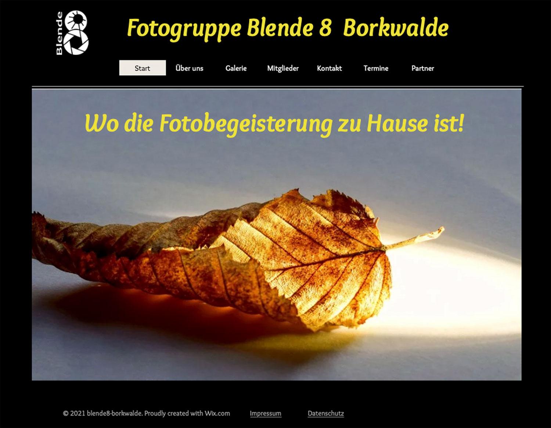 Blende 8, Borkwalde, Fotogruppe, Webseite